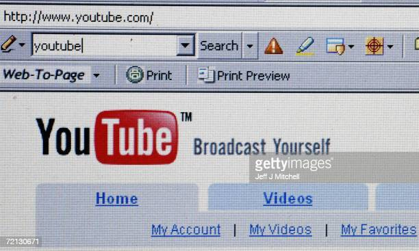 In this photo illustration the YouTube website is dispayed on October 10 2006 Google has bought YouTube the popular online video website where users...