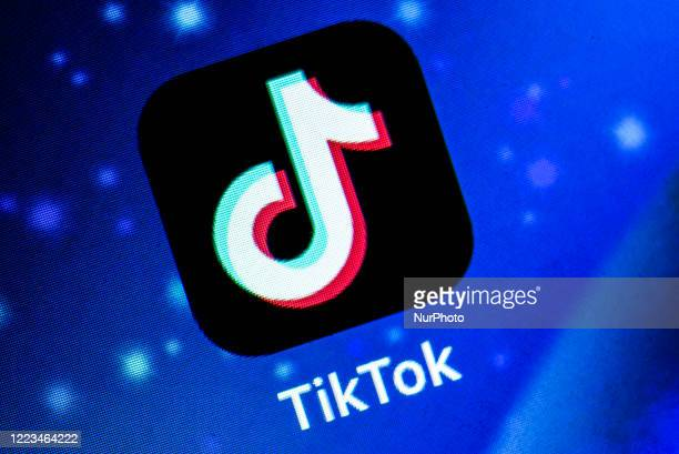 In this photo illustration Tiktok application is shown in Assam, India, on June 29, 2020. Indian Government on Monday banned as many as 59 mobile...