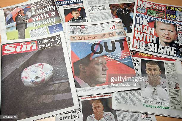 In this photo illustration UK newspapers carry headlines on England's defeat and elimination from the Euro 2008 Football Championships on November 22...