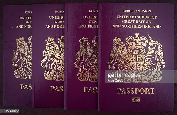 In this photo illustration UK passports are seen on October 10 2016 in Bath England Since the UK voted to leave the European Union in June the UK's...
