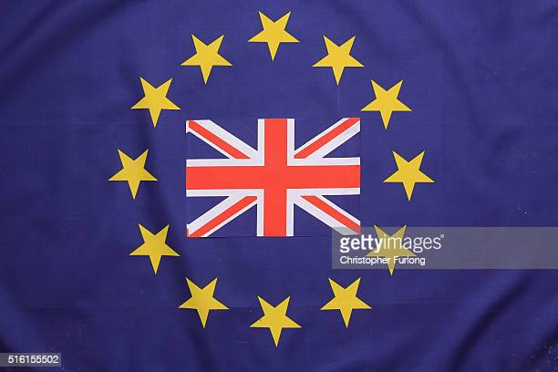In this photo illustration Union flag sits on top of a European Union flag on March 17 2016 in Knutsford United Kingdom The United Kingdom will hold...