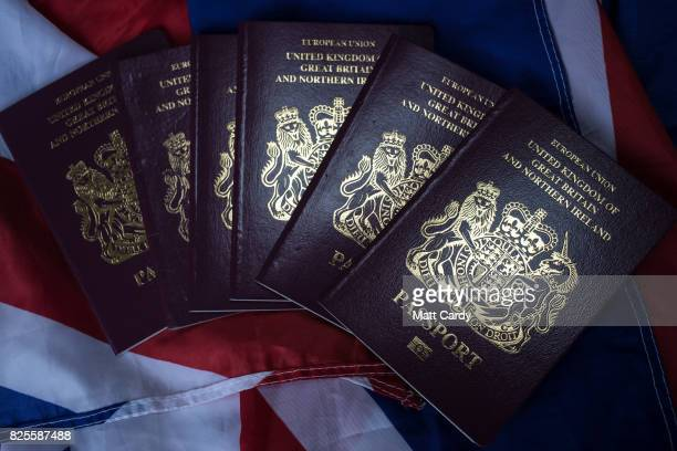 In this photo illustration United Kingdom passports are seen on August 2 2017 in Wells England Applications for Irish citizenship from people in the...