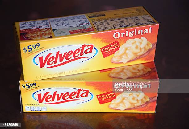 In this photo illustration Velveeta cheese is shown on January 8 2014 in Chicago Illinois Kraft Foods the maker of Velveeta says there is a shortage...