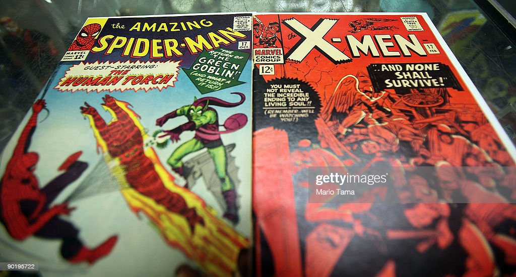 In this photo illustration, vintage Spider Man and X-Men Marvel comic books are seen at St. Mark's Comics August 31, 2009 in New York City. The Walt Disney Co. announced that it plans to acquire Marvel Entertainment Inc. for $4 billion in stock and cash, bringing 5,000 Marvel characters including Spider Man and Incredible Hulk under the Disney umbrella.