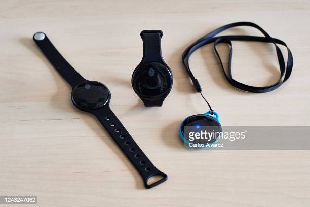 In this photo illustration Wardoo a bracelet to preserve social distancing is seen at Wardoo headquarters on June 03 2020 in Arroyomolinos Spain...