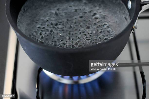 In this photo illustration water comes to the boil on a gas stove on January 8. 2009, in Milan, Italy. On New Year's Day Russia cut the supply of gas...