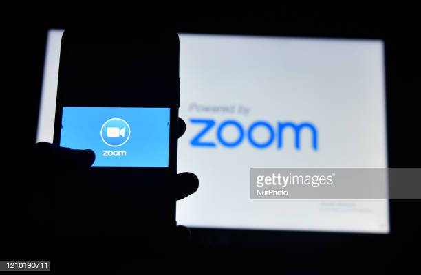 In this photo illustration Zoom app logo can be seen Kolkata India 17 April 2020 India said on Thursday that videoconferencing software Zoom is not a...
