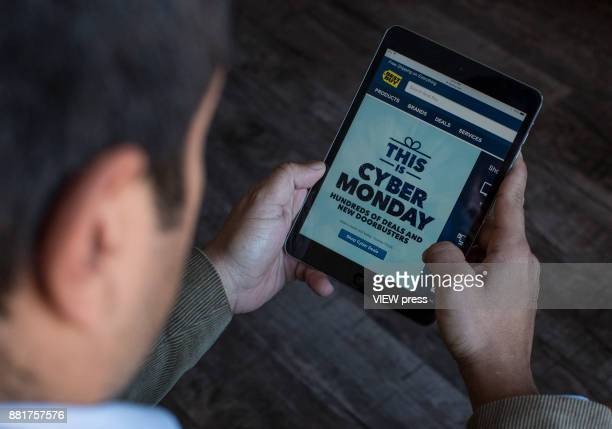 In this photo illustration,Best Buy advertise Cyber Monday sales on it's company websites on November 27, 2017 in Guttenberg, New Jersey. Americans...
