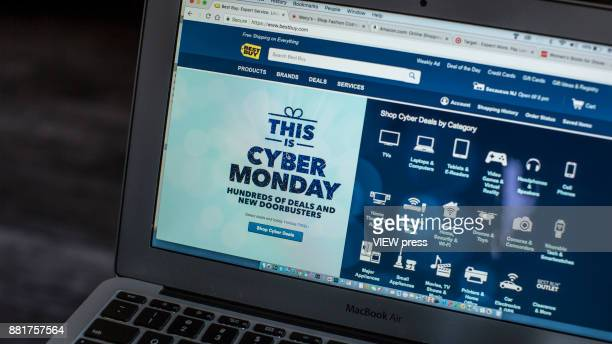 In this photo illustration,Best Buy advertises Cyber Monday sales on its company websites on November 27, 2017 in Guttenberg, New Jersey. Americans...
