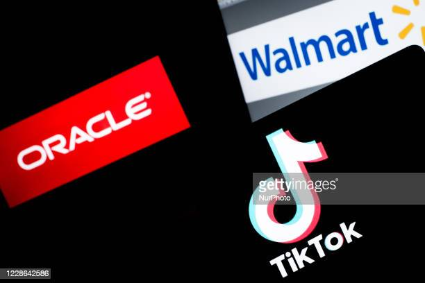 In this photo is seen the TikTok logo on a smartphone with Oracle and Walmart background on September 20, 2020 in Rome, Italy.