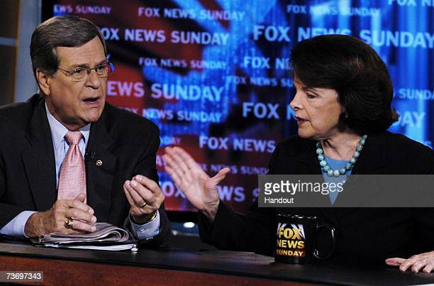 In this photo provided by Fox News Sunday Senator Trent Lott and Senator Dianne Feinstein appear on FOX News Sunday with Chris Wallace March 25 2007...