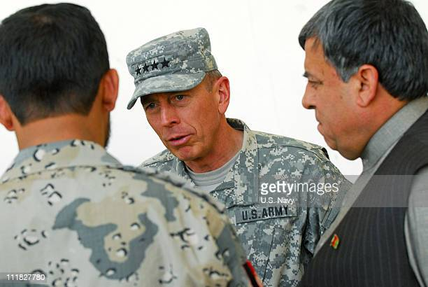In this photo provided by ISAF Regional Command /US Navy US Army Gen David Petraeus commander International Security Assistance Force and commander...