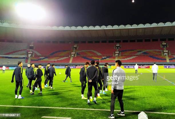 In this photo provided by Korea Football Association, the South Korean national football team attend a training session ahead of the FIFA World Cup...