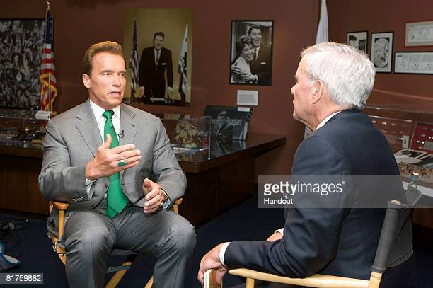 In this photo provided by Meet The Press California Governor Arnold Schwarzenegger is interviewed by moderator Tom Brokaw on 'Meet the Press' June 24...