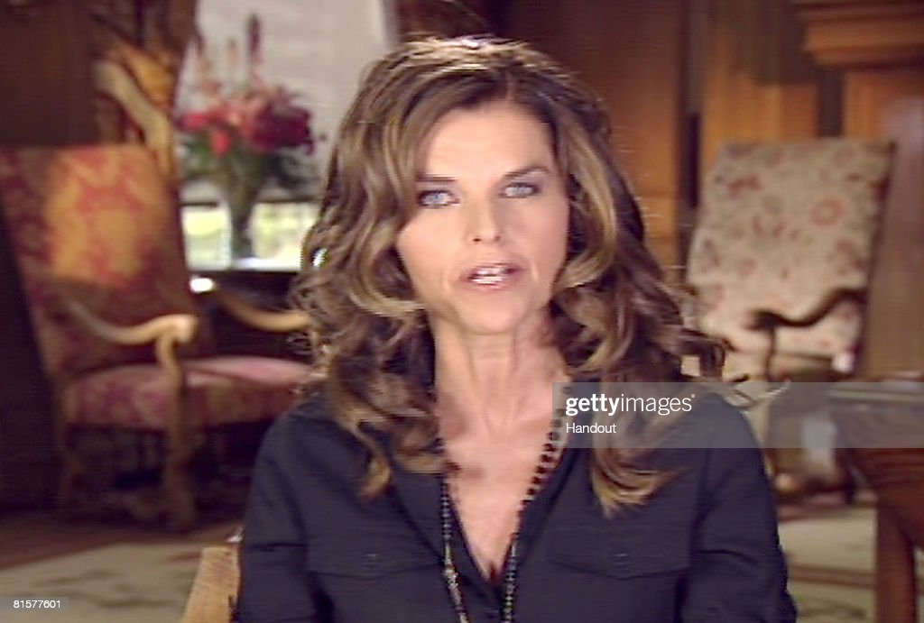 In this photo provided by Meet the Press, former correspondent of NBC News and wife of California Gov. Arnold Schwarzenegger, Maria Shriver speaks during a remote interview on 'Meet the Press' in memory of the late moderator Tim Russert June 15, 2008 in Sun Valley, Idaho. Russert died June 13, 2008 of a heart attack while at the NBC bureau in Washington at the age of 58.