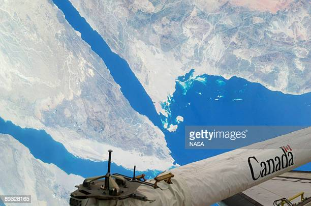 In this photo provided by NASA Part of the Sinai Peninsula featuring the Gulf of Suez and the Gulf of Aqaba were photographed by one of the STS127...