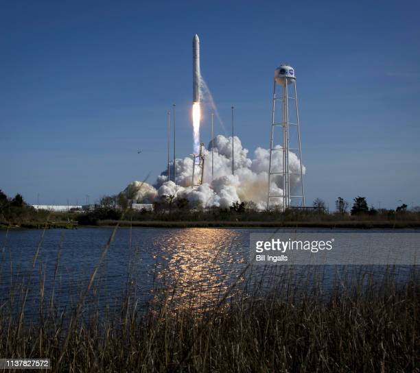 In this photo provided by NASA The Northrop Grumman Antares rocket with Cygnus resupply spacecraft onboard launches from Pad0A Wednesday April 17...