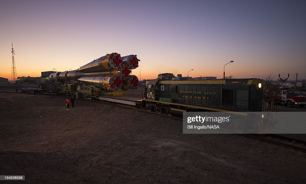 In this photo provided by NASA, The Soyuz rocket is rolled out to the launch pad by train, on October 21, 2012 at the Baikonur Cosmodrome in Kazakhstan. Launch of the Soyuz rocket is scheduled for October 23 and will send Expedition 33/34 Flight Engineer Kevin Ford of NASA, Soyuz Commander Oleg Novitskiy and Flight Engineer Engineer Evgeny Tarelkin of ROSCOSMOS on a five-month mission aboard the International Space Station.