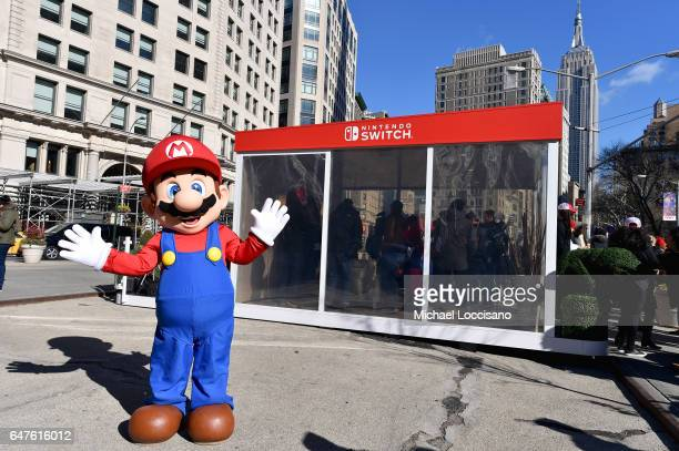 In this photo provided by Nintendo of America Mario makes a guest appearance at the Nintendo Switch in Unexpected Places activation at Madison Square...