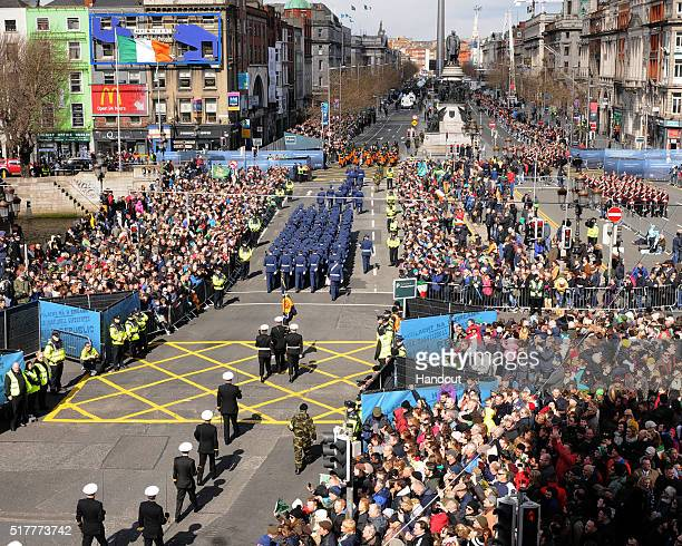In this photo provided by the Air Corps Press Office the view of the Parade from Roof of the Blood bank seen during the military parade marking the...