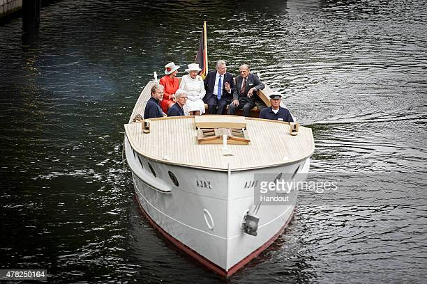 In this photo provided by the German Government Press Office Daniela Schadt Queen Elizabeth II German President Joachim Gauck and Prince Philip Duke...