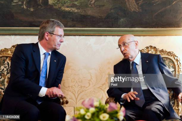 In this photo provided by the German Government Press Office German President Christian Wulff meets the President of the Italian Republic Giorgio...