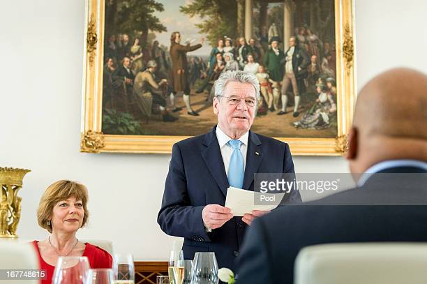 In this photo provided by the German Government Press Office , German President Joachim Gauck holds a speech during a lunch given for King Letsie III...
