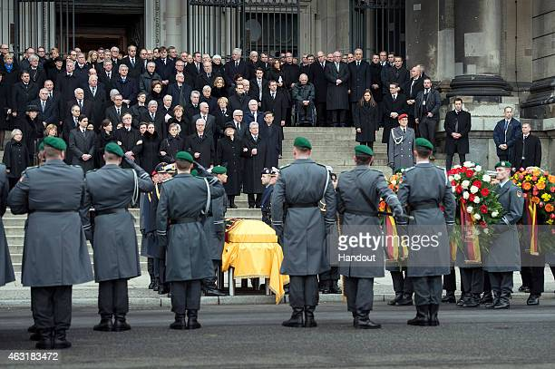 In this photo provided by the German Government Press Office German President Joachim Gauck with the widow of the former German President Richard von...