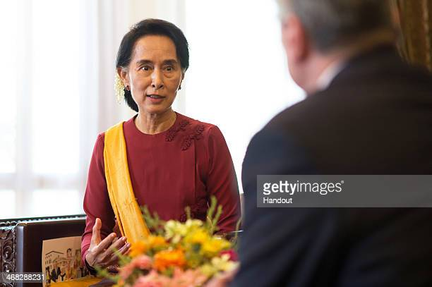 In this photo provided by the German Government Press Office German President Joachim Gauck meets Myanmar opposition leader Aung San Sui Kyi on...