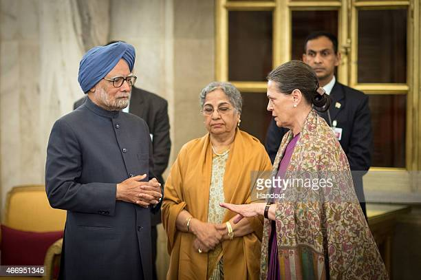 In this photo provided by the German Government Press Office Indian Prime Minister Manmohan Singh his wife Gursharan Kaur and Congress Party...