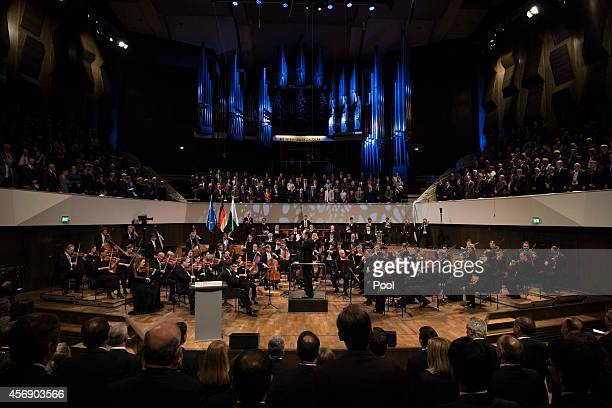 In this photo provided by the German Government Press Office The Gewandhaus Orchestra conducted by Riccardo Chailly perform at the Gewandhaus concert...