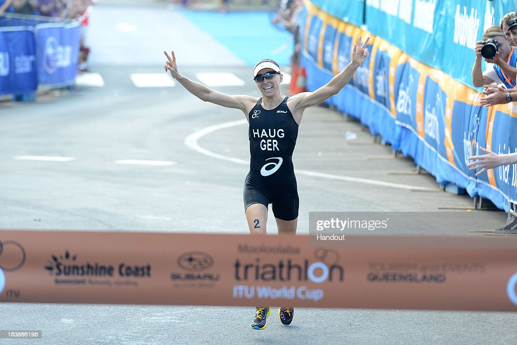 In this photo provided by the International Triathlon Union, Anne Haug (GER) wins her first World Cup title at the women's elite race at the Mooloolaba ITU Triathlon World Cup March 17, 2013 in Mooloolaba, Australia. (Photo by Delly Carr/ITU via Getty Images).