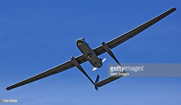 In this photo provided by the Israeli Defense Forces , the IDF's first long-range drone, named the Heron, comes in for landing March 7, 2007 at...
