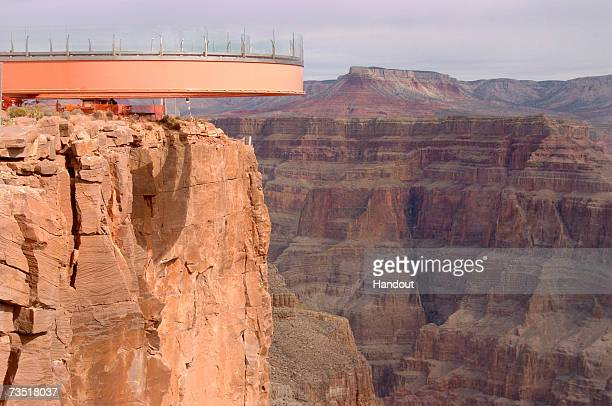 In this photo provided by the Las Vegas News Bureau the Skywalk nears completion at Grand Canyon West located 120 miles east of Las Vegas on March 7...