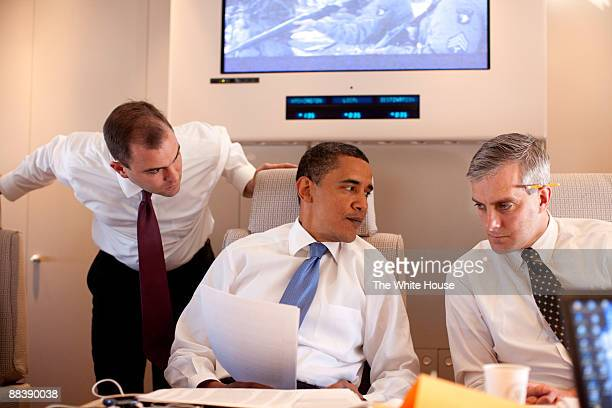 In this photo provided by The White House President Barack Obama meets with Deputy National Security Advisor for Strategic Communications Denis...