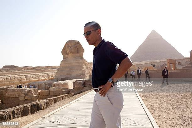 In this photo provided by The White House President Barack Obama tours the Egypt's Great Sphinx of Giza and the Pyramid of Khafre June 4 2009 outside...