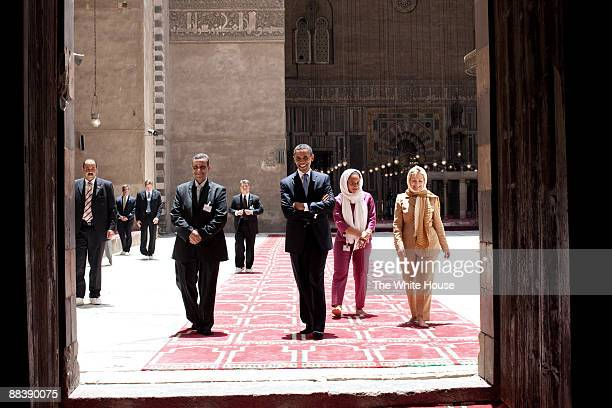In this photo provided by The White House President Barack Obama tours the Sultan Hassan Mosque with Dr Zahi Hawass Iman Abdel Fateh and Secretary of...