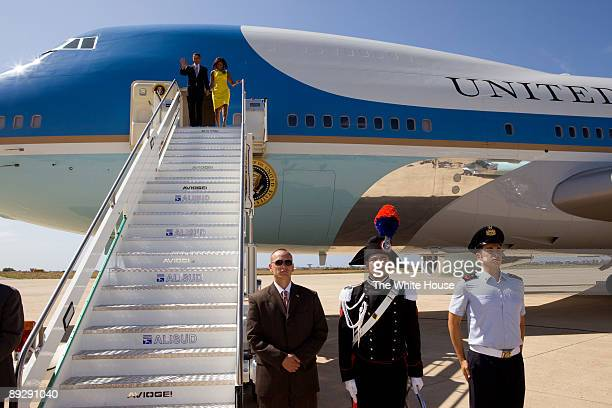 In this photo provided by The White House US President Barack Obama and First Lady Michelle Obama arrive for the G8 Summit on July 08 2009 in Rome...