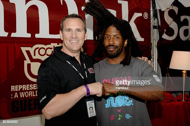 In this photo provided by Tim Mosenfelder Michael Romero VP/GM of SanDisk Mobile Retail and Murs backstage at Rock the Bells Tour 2008 at Shoreline...