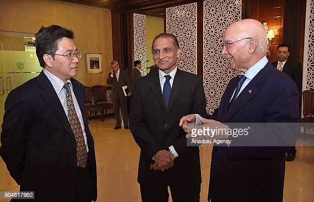 In this photo released by Associated Press of Pakistan Sartaj Aziz adviser to the Pakistani prime minister on foreign affairs is seen prior to...