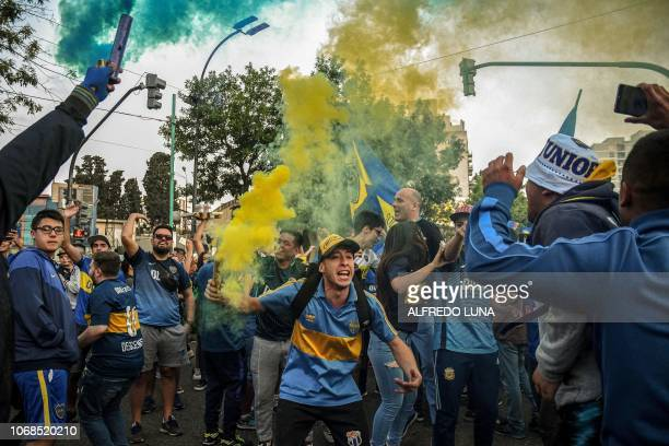 In this photo released by Telam supporters of Boca Juniors gather at Lezama park in Buenos Aires on December 4 2018 to cheer for their team before...
