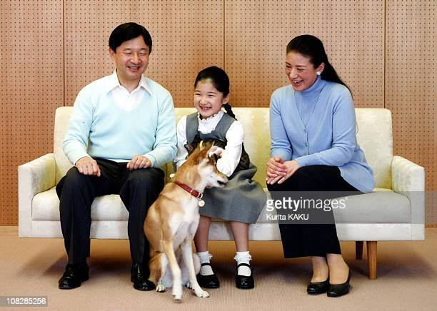 In this photo released by the Imperial Household Agency, Crown Prince Naruhito , Crown Princess Masako and their daughter Princess Aiko pose at their...