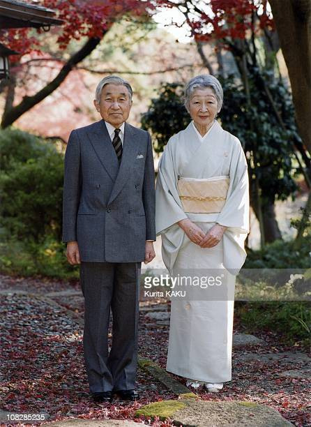 In this photo released by the Imperial Household Agency, Emperor Akihito and Empress Michiko stand together by Sokintei arbor during their stroll at...