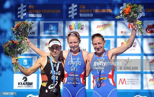 In this photo released by the International Triathlon Union Non Stanford of Great Britain Anne Haug of Germany and Jodie Stimpson of Great Britain...