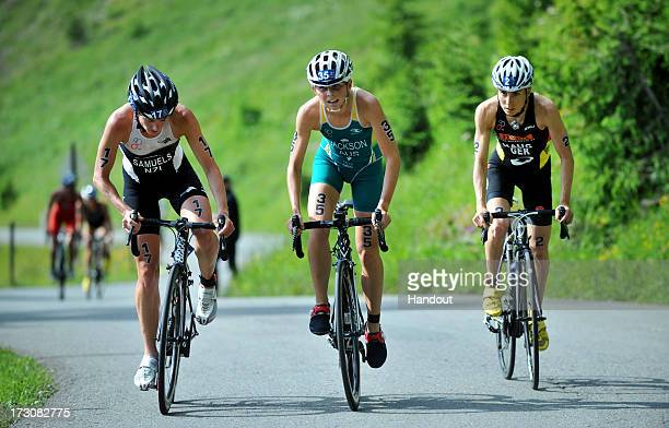 In this photo released by the International Triathlon Union three elite women Nicky Samuels of New Zealand Emma Jackson of Australia and Anne Haug of...