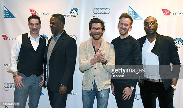 In this photo released by Virgin America Airlines actors Johnny Whitworth Jeremy Holm Danny Johnson and Maurice McRae join director Vlad Feier on the...