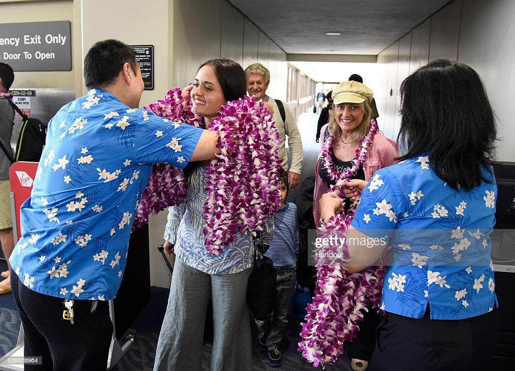 Virgin america 1st flight lax to honolulu airport pictures getty in this photo released by virgin america airlines actress danica mckeller disembarks from virgin americas m4hsunfo