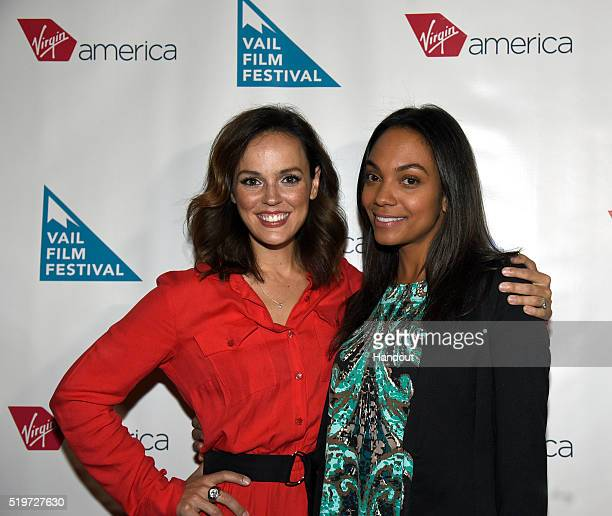 In this photo released by Virgin America Airlines actresses Erin Cahill and Lyndie Greenwood pose on the red carpet for the Opening Night of the 13th...
