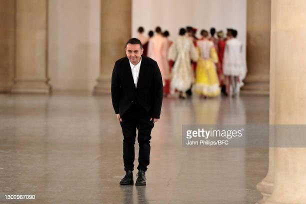 In this photo released on February 19 Designer Bora Aksu walks the runway during the BORA AKSU show during London Fashion Week February 2021 at Tate...