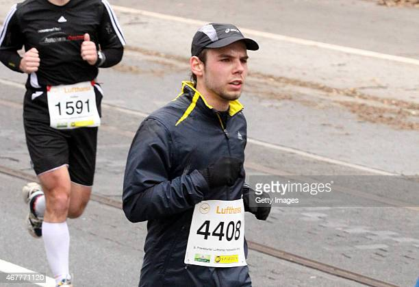 In this photo released today copilot of Germanwings flight 4U9525 Andreas Lubitz participates in the Frankfurt City HalfMarathon on March 14 2010 in...